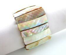 Natural Mother of Pearl Shell Stretch Cuff Bracelet 6-8 inch Stretchable  GA113