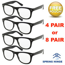 4 or 8 Pairs Mens Womens Spring Hinge Reading Glasses Readers Classic All Powers