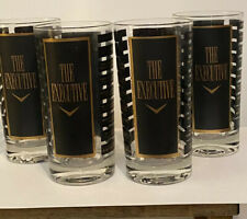 The Executive Glass Highball Drink Tumbler Black And Gold Set of 4