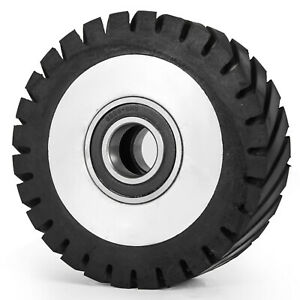 "6"" Serrated Rubber Contact Wheel for Belt Sander Grinder 2"" wide w/ 6206 Bearing"