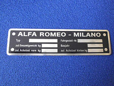 Nameplate Alfa Romeo Id-Plate Day Milano Shield Plaque Targa Targhetta s26
