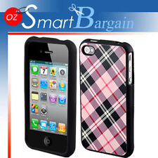 Snap On HARD Cover Pink Check Case F iPhone 4G 4GS + Screen Protector