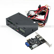"5.25"" Front Panel USB 3.0 Hub MultiMedia eSATA Card Reader with USB PCI-E Card"