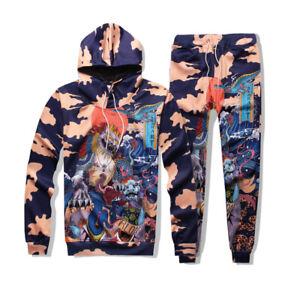 Men Jogger Tracksuit 2 Piece Casual Pants Hoodie Sweatsuit Sweatshirt Sports Set