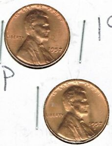 1957 P & D Brilliant Uncirculated Two Lincoln cent coins!