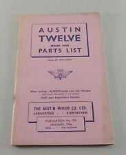 Catalogue des Pièces / Pièces Rechange List Austin Twelve Hrb De 01/1946