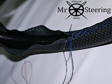 FOR FORD ESCORT I 68-74 PERFORATED LEATHER STEERING WHEEL COVER BLUE DOUBLE STCH