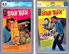 STAR TREK #1-2 CGC 6.5 & CGC-SS 7.5 SIGNED KIRK/WILLIAM SHATNER GOLD KEY 1967-68