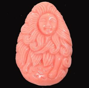 45x30mm Rose Bud / Pink Resin Coral Mermaid Teardrop Pendant Bead