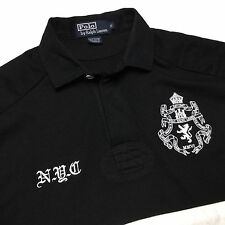 RALPH LAUREN Mens S Black White #3 NYC Striped Long Sleeve Polo Shirt/Sweater