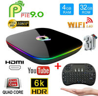 Lot 6K Smart Q Plus H6 TV Box 4G+32G WiFi 3D 6K Quad Core Android 9.0 Keyboard