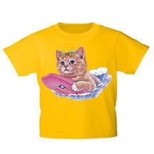 Kinder T-Shirt 152-164 mit Print Katzenmotiv Katze mit Surfbrett KA185 gelb