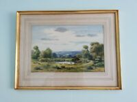 Original, Vintage Framed Watercolour. Sole Fisherman at Lake. Countryside Scene.