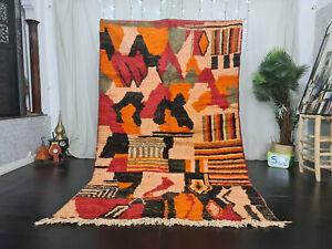"Moroccan Handmade Boujad Berber Rug 5'5""x9'1 Orange Patchwork Tribal Wool Carpet"