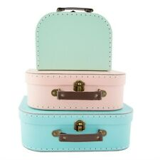 Sass & Belle Set of 3 Small Pastel Retro Suitcases Kids  Storage Boxes Cases