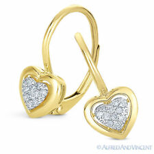 0.09 Ct Round Cut Diamond Dangling Heart Charm Earrings 14k Yellow Solid Gold