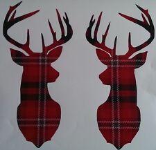 Stag Heads Sticker Vinyl Decal Mural Printed Tartan Scottish Deer Decor