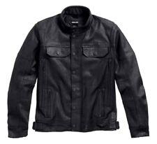 Harley Davidson Men's Coated Black Denim Slim Fit Riding Jacket Medium New