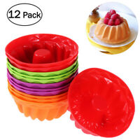12X Silicone Round Mini Cake Mould Bundt Cupcake Mold Round Baking Pan Tools NEW