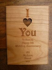 I Love You Personalised Wooden card (Birthday, Valentines, Wedding anniversary)