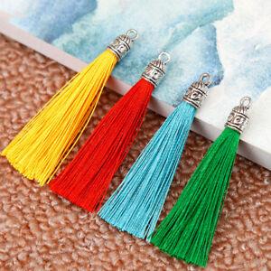 2X 6cm Metal Cap Earrings Tassels Trim Pendant Jewelry Making DIY 12 Colors
