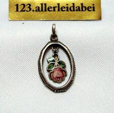 Jugendstil Rosen Emaille Charm Anhänger 800 Silber Rose / BT 400