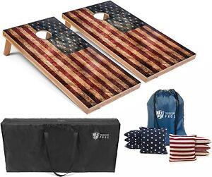 Set of 4'x2' Distressed American Flag Cornhole Boards With 8 Cornhole Bags
