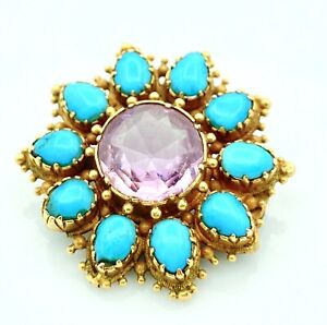 Magnificent Brooch Gold 18 Gold - Amethyst And Turquoise - 5.48 G