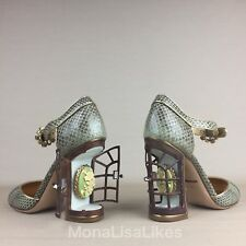 New DOLCE GABBANA Cage Cameo Snakeskin Embellished Crystal Mary Jane Shoes Pumps