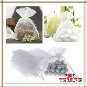 10-100Pcs White Organza Gift Bags Wedding Party Favour Jewellery Candy Pouches