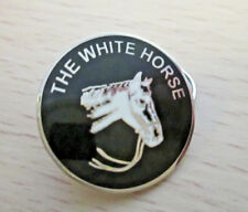 The White Horse Lapel Pin -Chromed Metal -Enamel-25mm-Good Quality- Gift L027