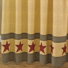 Country Star Shower Curtain Tan, Black, Red 72x72 Cotton