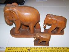 Vintage Elephants wood hand carved Family lot of 3