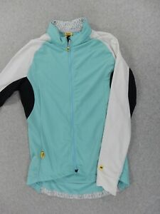 Mavic Thermal Long Sleeve Full Zip Cycling Jersey (Womens Large) Blue/White