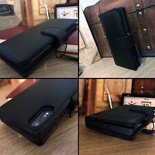Real Genuine Leather Wallet Book Case Black For  Sony Xperia XZ & XZs Premium