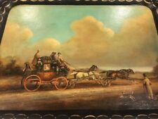 Vintage Listed Artist Brian Coole Hand Painted Large Toll Painted Tray.Signed