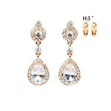 Woman Fashion Crystal Rhinestone Chandelier Earrings Bridal Wedding Prom Party