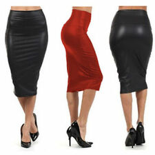 Faux Leather Knee-Length Solid Regular Size Skirts for Women