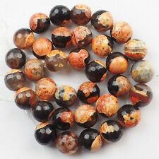 R9369 Beautiful Faceted 12mm Orange/Black Fire Agate Round Loose Bead 15.5 inch