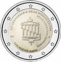 San Marino 2 Euro 2015 Deutschen Einheit Gedenkmünze Brandenburger Tor im Folder