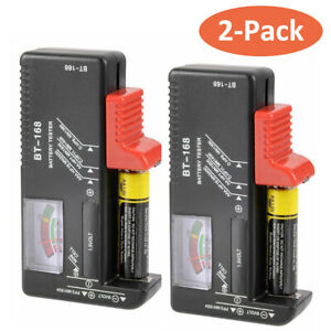 AA AAA C D 9V Universal Battery Volt Checker Tester Button Cell Batteries 2-Pack