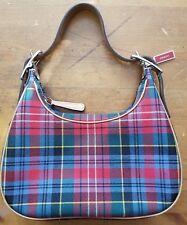 Authentic, COACH, Red, Wool, Tartan Print, Baguette Handbag