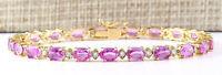 14.92 Carat Natural Sapphire 14K White Gold Diamond Bracelet