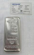 Metalor 1KG 999.0 Fine Silver Bullion Bar -  Metalor Certificate UK -