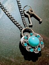 Turquoise Wreath Crystal Heart Lock Necklace Day Collar Stainless Steel BDSM Sub
