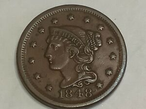 1848. Braided Hair Half Cent. Copper **Free Shipping **