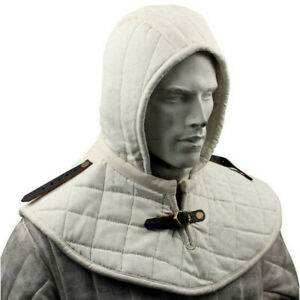 Gambeson Medieval Cotton Hood with Coller SCA Costume Armor gorget protector