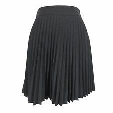 Theory Skirt 12 Charcoal Gray Wool Lycra Accordion Pleated Zipper Above Knee USA