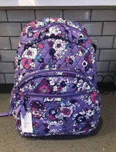 VERA BRADLEY Essential Large Backpack Enchanted Garden Padded Laptop School NWT