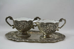 Vintage Silver Plated Creamer and Sugar Bowl With Tray